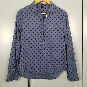 J.Crew Jacquard Dot Popover Shirt size XS -Y1